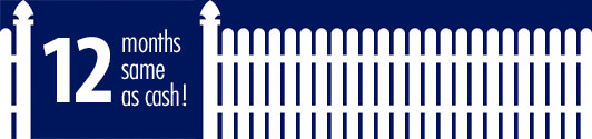 12 months same as cash white picket fence on dark blue background. Rochester fence company fence contractors Minnesota financing options interest application form.